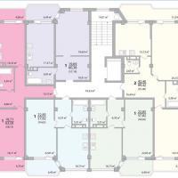 Секция 1 этаж 1-9 Планировка ЖК Лазурное побережье