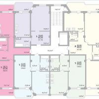 Секция 2 этаж 1-9 Планировка ЖК Лазурное побережье