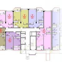 ЖК Лазурный, планировка квартир в секции 3, этаж 1