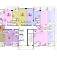 ЖК Лазурный, планировка квартир в секции 3, этаж 13