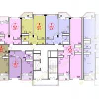 ЖК Лазурный, планировка квартир в секции 3, этаж 2