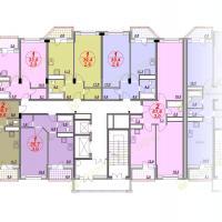 ЖК Лазурный, планировка квартир в секции 3, этаж 4
