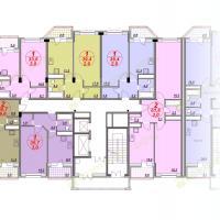 ЖК Лазурный, планировка квартир в секции 3, этаж 6