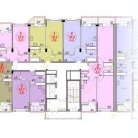 ЖК Лазурный, планировка квартир в секции 3, этаж 8