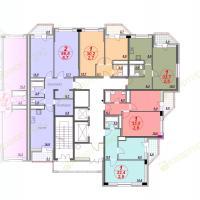 ЖК Лазурный, планировка секции 4, этаж 6