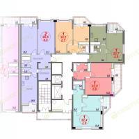 ЖК Лазурный, планировка секции 4, этаж 9