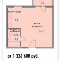 планировка квартиры 1к - 33,5кв