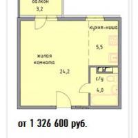 планировка квартиры 1к - 33,7кв.