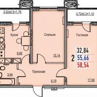 Типовая двухкомнатная квартира - планировка