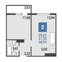 1 вариант планировки: 1-комнатная квартира 3 подъезд