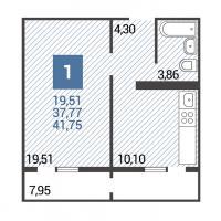 2 вариант планировки: 1-комнатная квартира 3 подъезд