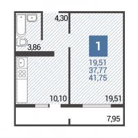 3 вариант планировки: 1-комнатная квартира 5 подъезд
