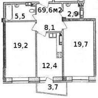 Планировка двухкомнатной квартиры, тип 1