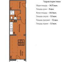 ЖК Триумф планировка 1-комнатная 34,75 кв.м.