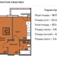 ЖК Триумф планировка 1-комнатная 38,73 кв.м.