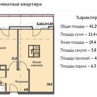 ЖК Триумф планировка 1-комнатная 41,29 кв.м.