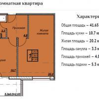 ЖК Триумф планировка 1-комнатная 41,65 кв.м.