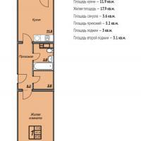 ЖК Триумф планировка 1-комнатная 43,85 кв.м.