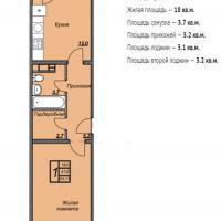 ЖК Триумф планировка 1-комнатная 44,13 кв.м.