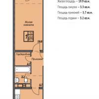 ЖК Триумф планировка 1-комнатная 44,76 кв.м.
