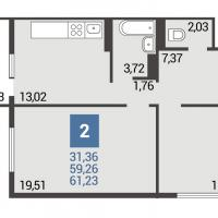 1 вариант планировки: 2-комнатная квартира 3 подъезд