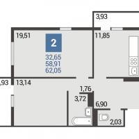 2 вариант планировки: 2-комнатная квартира 3 подъезд