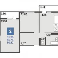 1 вариант планировки: 2-комнатная квартира 5 подъезд
