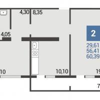 2 вариант планировки: 2-комнатная квартира 5 подъезд