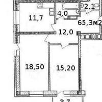 Планировка двухкомнатной квартиры, тип 2