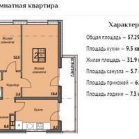 ЖК Триумф планировка 2-комнатная 57,29 кв.м.