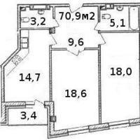 Планировка двухкомнатной квартиры, тип 3