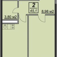 Планировка однокомнатной квартиры 45,1 кв.м.