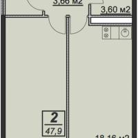 Планировка однокомнатной квартиры 47,9 кв.м.