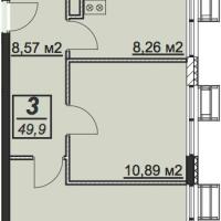 Планировка двухкомнатной квартиры 49,9 кв.м.