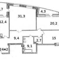 Планировка трехкомнатной квартиры, тип 1