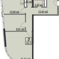 Планировка двухкомнатной квартиры 59,5 кв.м.
