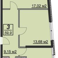 Планировка двухкомнатной квартиры 59,9 кв.м.
