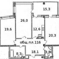 Планировка трехкомнатной квартиры, тип 2