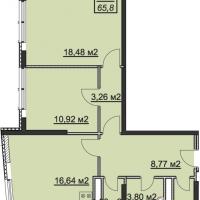 Планировка двухкомнатной квартиры 65,8 кв.м.