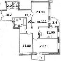 Планировка трехкомнатной квартиры, тип 3
