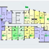Планировки - литер Б, этаж 10 - 14