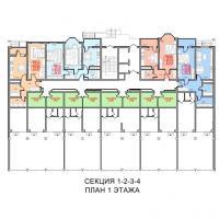 ЖК Южный квартал. План 1 этажа, секции 1, 2, 3, 4