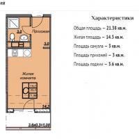ЖК Триумф планировка студии 21,38 кв.м.