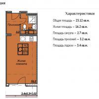 ЖК Триумф планировка студии 23,12 кв.м.