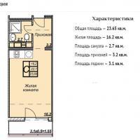 ЖК Триумф планировка студии 23,65 кв.м.