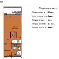 ЖК Триумф планировка студии 23,92 кв.м.