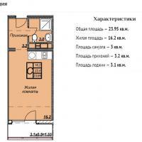 ЖК Триумф планировка студии 23,95 кв.м.