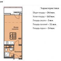 ЖК Триумф планировка студии 24,6 кв.м.