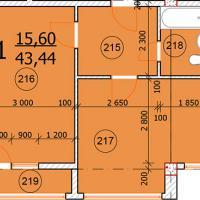 Ул. Промышленная 2д, планировка квартиры площадью 43,44 кв.м.