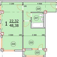 Ул. Промышленная 2д, планировка квартиры площадью 48,38 кв.м.
